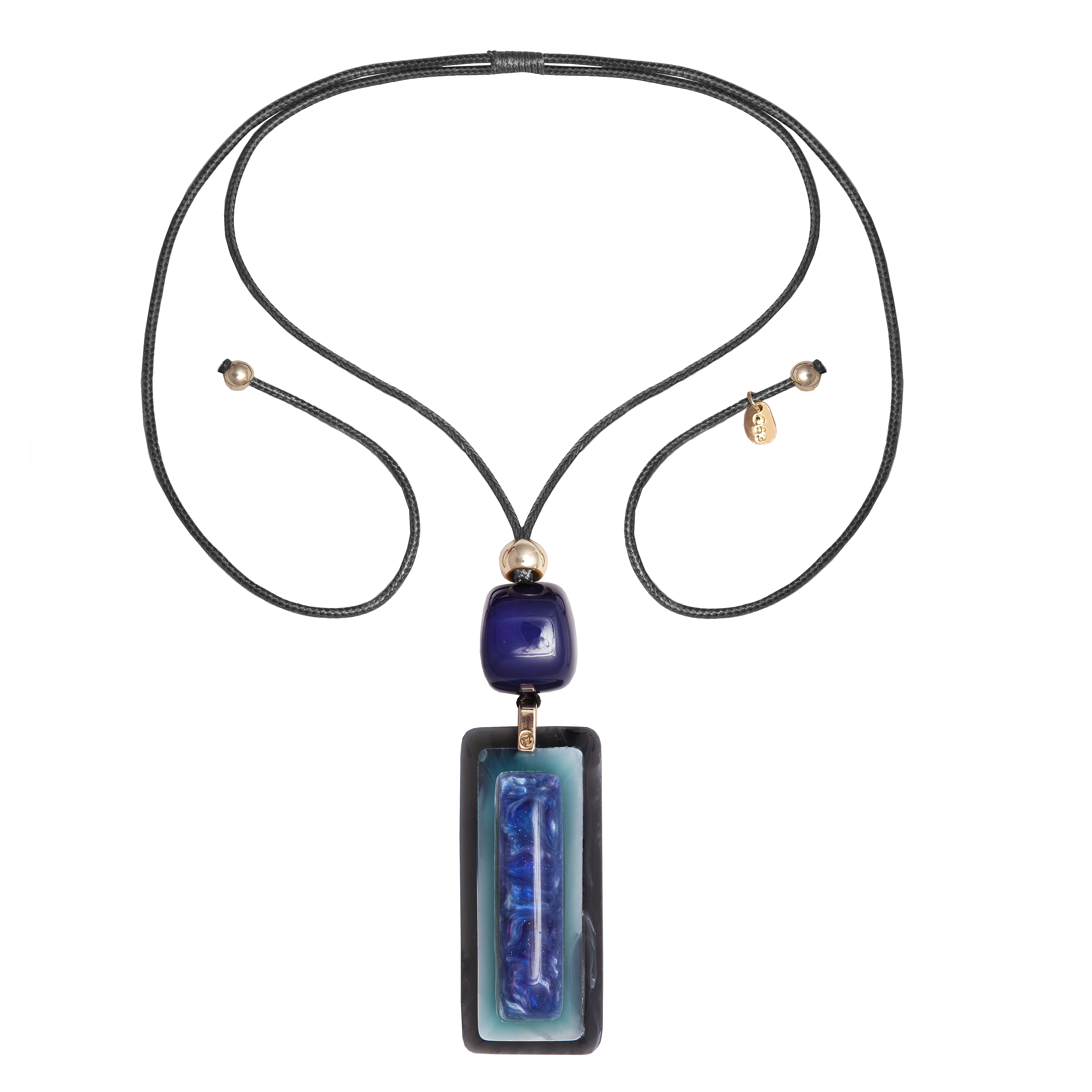 Blue Rectangle Necklace can extend to any length