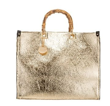 Bamboo Handle Handbag Gold