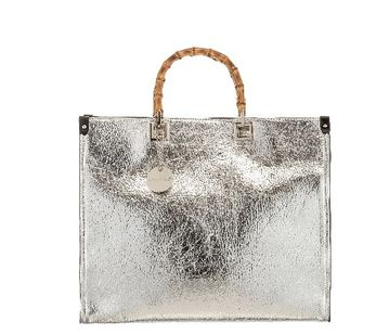 Bamboo Handle Handbag Silver
