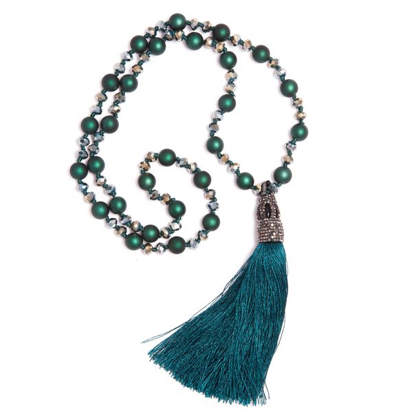 Green Tassel Necklace with Green/Multi Beading