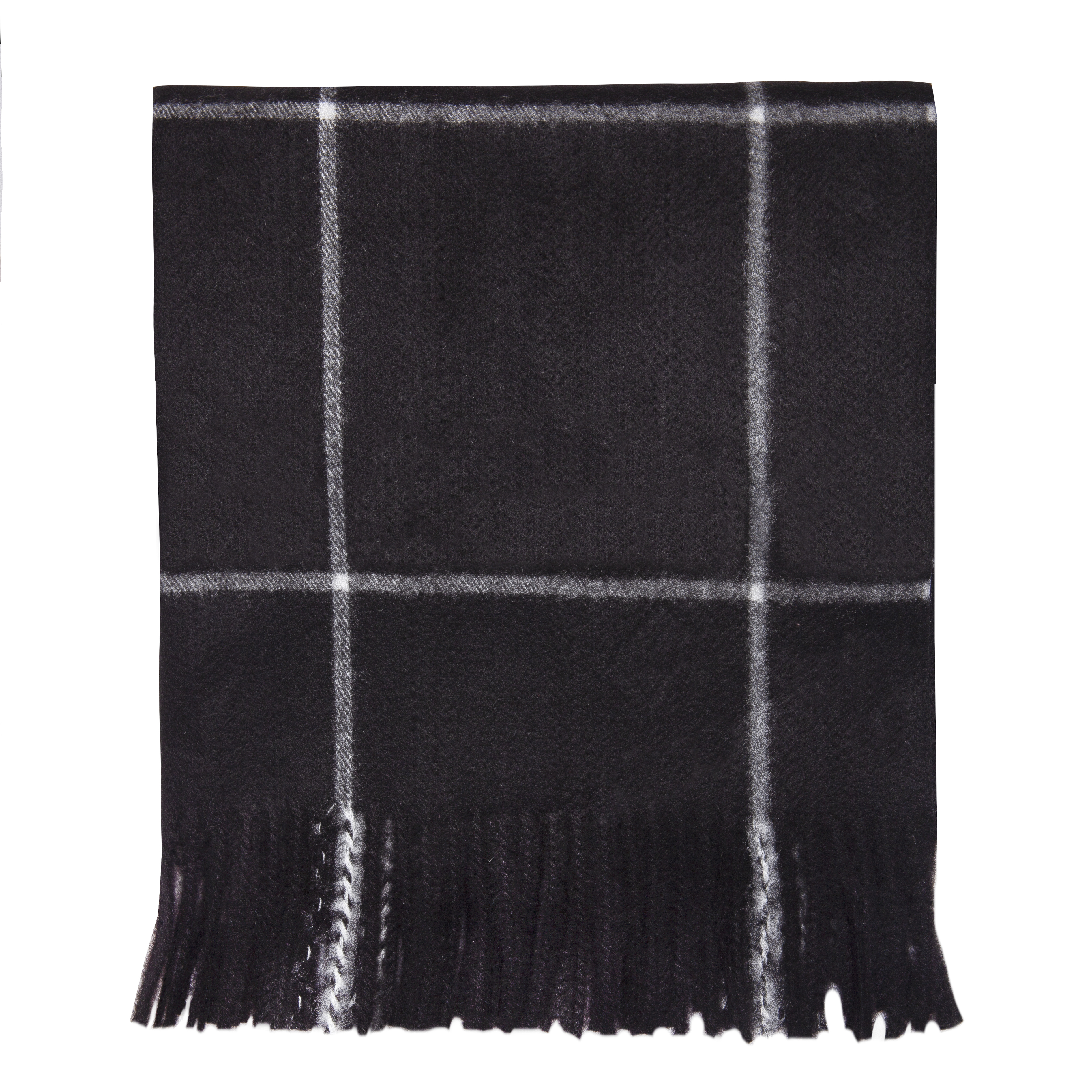 Black/Ivory Checked Blanket Scarf
