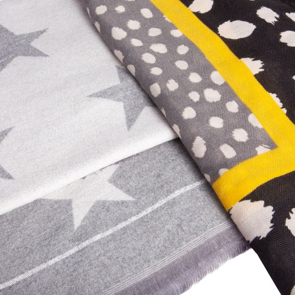 Cashmere feel reversible Star printed (Grey) Scarf