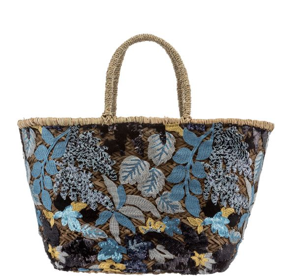 Navy Large Embroidery Sequin Basket Bag