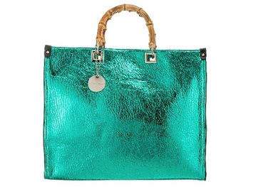 Bamboo Handle Handbag Green