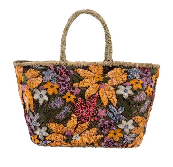 Medium Orange interior Embroidery Sequin Basket Bag