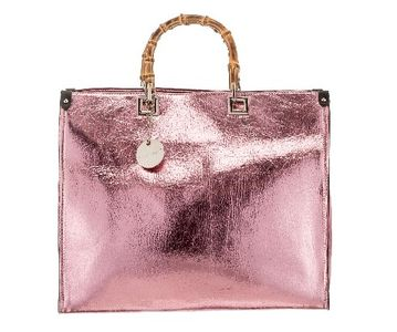 Bamboo Handle Handbag Pink